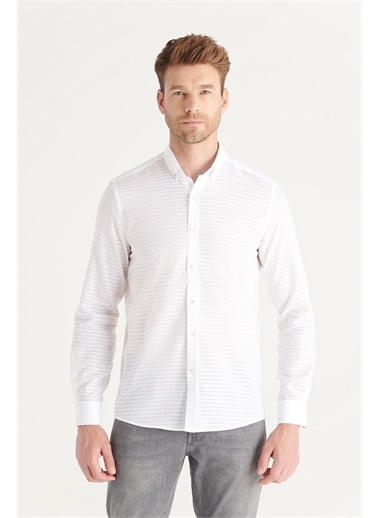 Avva A11Y2153 Armürlü Düğmeli Yaka Regular Fit Gömlek A11Y2153 Beyaz